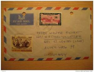 Afghans Afghanistan Kaboul 1977 To St Wendel Germany 2 Stamp On Air Mail 2 Hole