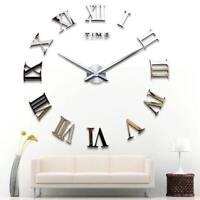 DIY Roman Numeral 3D Wall Clock Sticker Acrylic Home Modern Decor 120cm*120cm