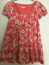 LAURA ASHLEY SIZE 12 CORAL FLORAL PRINT COTTON TOP TUNIC BLOUSE CAP SLEEVES