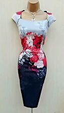 Karen Millen 16 UK Red Rose Print Pencil Dress Christmas Party Cocktail Paces