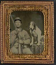 Photo Civil War Confederate In Uniform With Shotgun Sitting Next To Dog