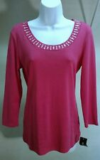 NWT Style&co. Women's 100% Cotton Pink Solid Studded 3/4 Sleeve Top Blouse Sz: M
