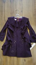 "New Fall Isobella & Chloe ""Starry Night""purple glitter ruffle dress,3T,NWT"