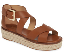NWB Michael Kors 'Darby' Brown Luggage Leather Crisscross Espadrilles Sandals Si