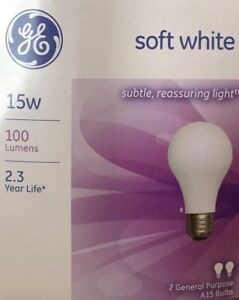 2 GE 15-Watt Frosted Soft White Double-Life A15 Light Bulbs - 100 Lumens - NEW