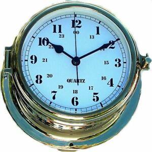 Large Brass Boat Clock in Porthole Style