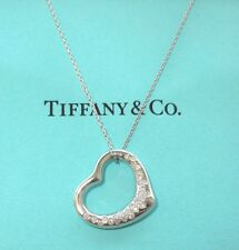 TIFFANY & Co. Platinum Elsa Peretti Pave Diamond Open Heart Pendant Necklace