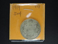1919 50 Cent Coin Canada King George V Fifty Cents .925 Silver VG Condition