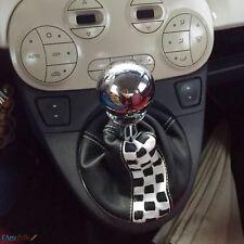 Nuova Fiat 500 cuffia Cambio Nero e Quadrati personale