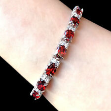 """6mmx8mm Oval Red Ruby Cubic Zirconia CZ White Gold Plated Tennis Bracelet 7.25"""""""