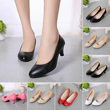 Women's Pump Sandals Mid High Heel Work Shoes Slip-on Casual Smart Court Shoes