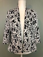 Kasper Womens Open Front Blazer Jacket Size 8 Black White 3/4 Sleeve Lined