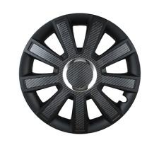 14 Inch Wheel Trim Set CARBON Black Set of 4 Univers Hub Caps Covers [FLASH B]