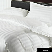 1000 TC EGYPTIAN COTTON FITTED SHEET/FLAT/DUVET/BED-SKIRT US-SIZES WHITE STRIPE'