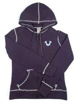 True Religion Womens Small Petite Full Zip Hoodie Sweater Purple Embroidered SP