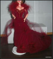 DRESS ONLY BARBIE DOLL MATTEL GONE WITH THE WIND DOLL RED EVENING GOWN ACCESSORY
