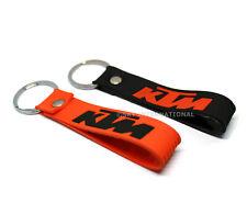 2x Key Ring Key Chain For KTM Bikers Orange & Black Silicone Rubber K T M