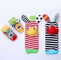 Multi Cute Animal Infant Baby Kids Hand Wrist Bells Foot Sock Rattles Soft Toys
