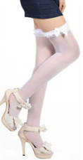 White Sheer Stockings One Size with ruffle top + large satin bow elasticated top