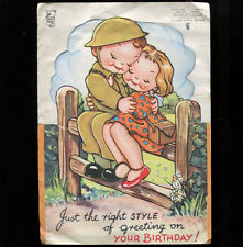 WW2 Lucie Attwell Type Soldier Greetings Card Raphael Tuck