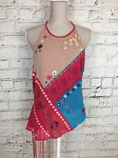 NEXT Pink Blue Beaded Embroidered Sequin Halterneck Sleeveless Top Size 14