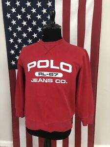 vtg 90s Polo Jeans Co Ralph Lauren Sweatshirt men's SMALL rl-67 red hiphop 2c868