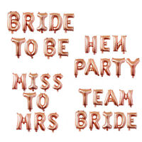 """16"""" BRIDE TO BE Rose Gold Letter Foil Balloons Wedding Hen Party Hanging Decor"""