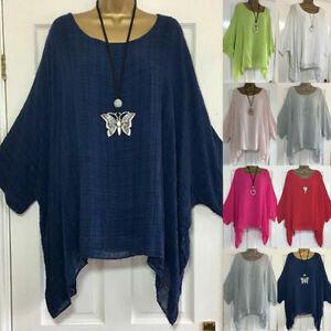UK Plus Size Women Short Sleeve Linen Baggy Blouse Shirt Ladies Summer Tunic Top
