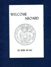 Dd 946 Uss Edson Welcome Aboard Booklet Us Navy Ship Squadron Pamphlet