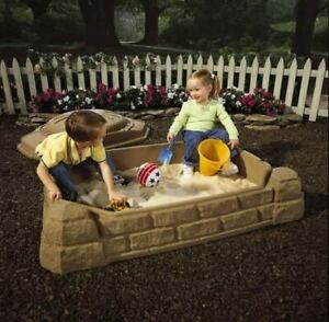 Sandbox With Lid Cover Seats Kids Toy Toddler Outdoor Plastic Pit Backyard Play