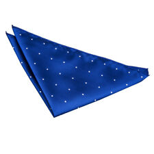 DQT Woven Pin Dot Dotted Royal Blue Formal Handkerchief Hanky Pocket Square