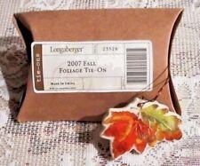 Longaberger Basket FALL FOLIAGE Tie On Charm 2007 Leaves Acorns New Box Retired