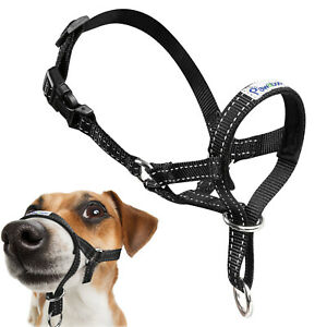 Pawaboo Pet Dog Nylon Reflective Adjustable Loop Bite Bark Control Head Halter