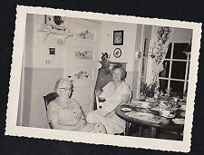 Vintage Antique Photograph Two Older Women Sitting in Retro Dining Room Kitchen