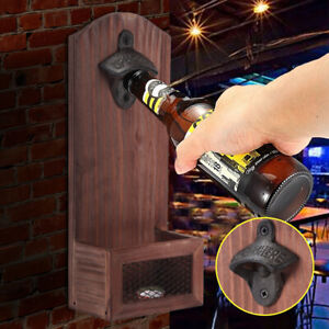 Professional Stand Up Bottle Opener Wood Catcher Wall Mounted Bar Beer Opener