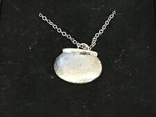 """Couldron With Pot TG12 Pewter On 18"""" Silver Plated Curb Necklace"""
