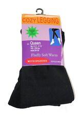Fleece-Lined Leggings Black Opaque Footless Winter Warm Adult Ladies Queen Size