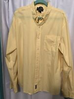 Mens Abercrombie & Fitch Long Sleeve Shirt - Yellow - Striped - Size XL