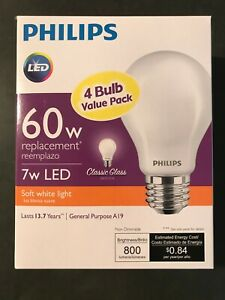 Philips 7w (60w Equivalent) LED Non-Dimmable 4 Bulb Pack, A19, Soft White