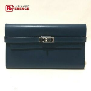 HERMES Paris Kelly Colver x Silver Long Wallet for Unisex Made in France