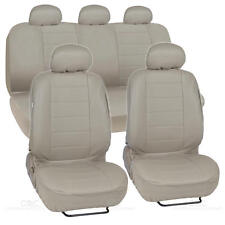 Beige Synthetic Leather Full Set Tan Seat Covers for Car With Accessories