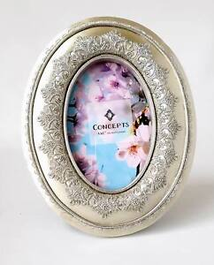 Photo Frame Silver Oval With Raised Lace Design Around Opening by Concepts 4x6