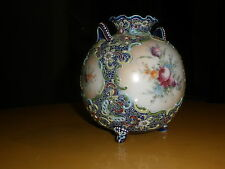 Nippon Japanese Moriage Vase Cobalt Beaded Butterfly Jewels