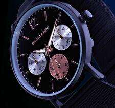Excellanc Herren Uhr Schwarz Edelstahl Mesh Armband M3-SC