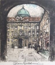 THE HOFBURG IMPERIAL PALACE VIENNA Signed Coloured Etching by ROBERT KASIMIR