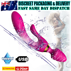 3 Point Rabbit Vibrator Dildo GSpot Adult Sex Toy USB Rechargeable Silicone Jack