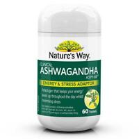 NATURE'S WAY CLINICAL ASHWAGANDHA 60 TABLETS KSM-66 ENERGY STRESS ADAPTOR