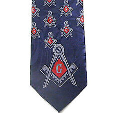 Tie for Free Mason Suit - Navy Polyester long tie bold red center Masonic design