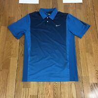 NIKE TIGER WOODS Men's S/S Poly Spandex Polo Golf Vented Short Sleeve Blue Shirt
