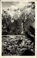 Mittenwald Bayern  Postkarte 1951 gelaufen Gesamtansicht mit Blick auf Karwendel